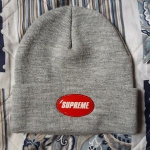 Supreme red bubble beanie grey brand new